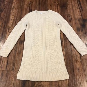Gap Kids Cream Cable Knit Sweater Dress 14 16